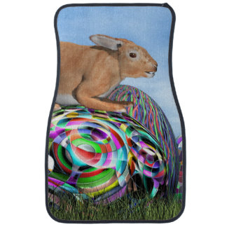 Rabbit on its colorful egg for Easter - 3D render Car Mat
