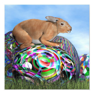 Rabbit on its colorful egg for Easter - 3D render Card