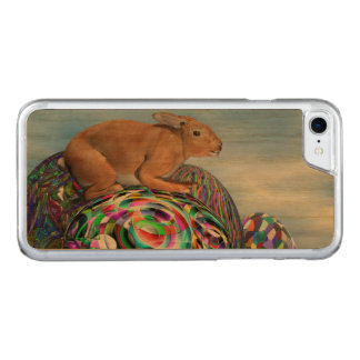 Rabbit on its colorful egg for Easter - 3D render Carved iPhone 7 Case