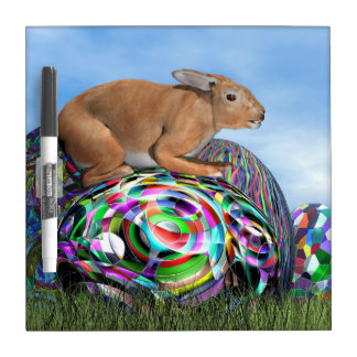 Rabbit on its colorful egg for Easter - 3D render Dry Erase Board