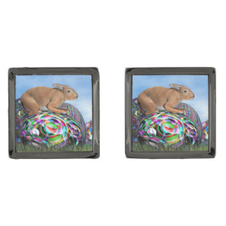 Rabbit on its colorful egg for Easter - 3D render Gunmetal Finish Cuff Links