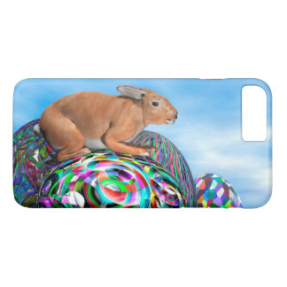 Rabbit on its colorful egg for Easter - 3D render iPhone 8 Plus/7 Plus Case