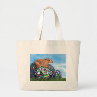 Rabbit on its colorful egg for Easter - 3D render Large Tote Bag