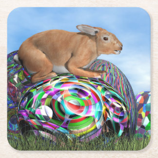 Rabbit on its colorful egg for Easter - 3D render Square Paper Coaster