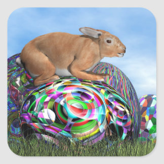 Rabbit on its colorful egg for Easter - 3D render Square Sticker