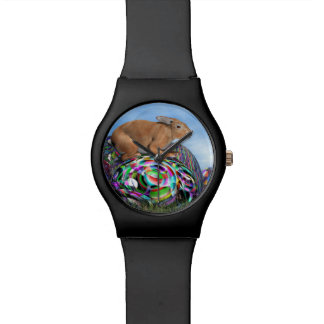Rabbit on its colorful egg for Easter - 3D render Watch