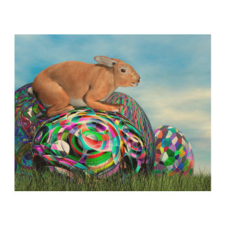 Rabbit on its colorful egg for Easter - 3D render Wood Wall Decor