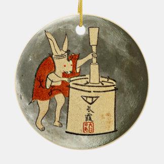 Rabbit on the Moon Round Ceramic Decoration