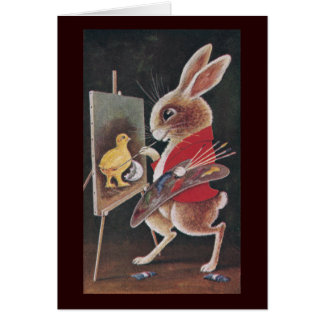 Rabbit Painting Chick Vintage Easter Card