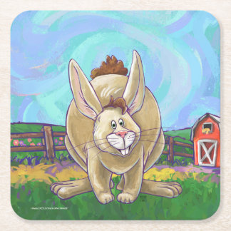 Rabbit Party Center Square Paper Coaster