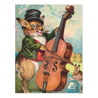 """Rabbit Playing the Cello"" Vintage Postcard"