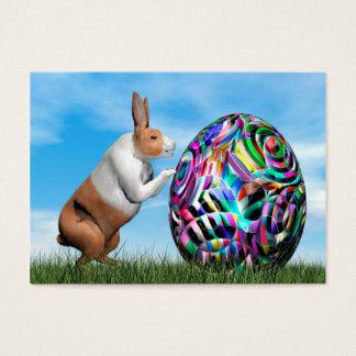 Rabbit pushing easter egg - 3D render Business Card