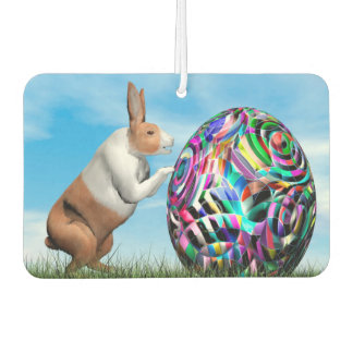 Rabbit pushing easter egg - 3D render Car Air Freshener