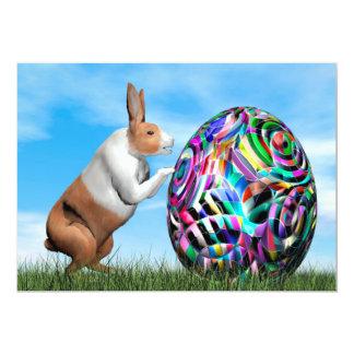Rabbit pushing easter egg - 3D render Card