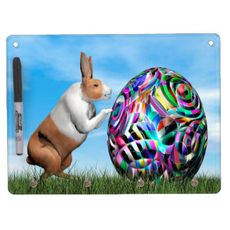 Rabbit pushing easter egg - 3D render Dry Erase Board With Key Ring Holder