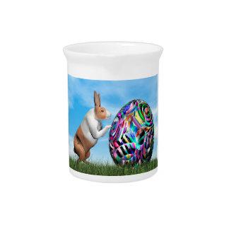 Rabbit pushing easter egg - 3D render Pitcher