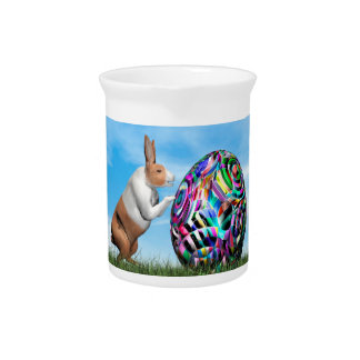 Rabbit pushing easter egg - 3D render Pitcher