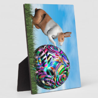 Rabbit pushing easter egg - 3D render Plaque