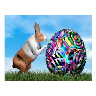 Rabbit pushing easter egg - 3D render Postcard