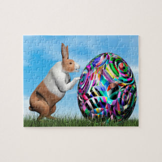 Rabbit pushing easter egg - 3D render Puzzles