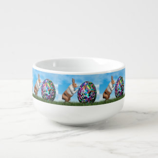 Rabbit pushing easter egg - 3D render Soup Mug