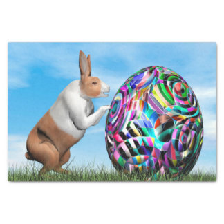 Rabbit pushing easter egg - 3D render Tissue Paper