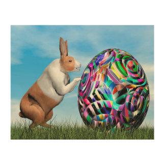 Rabbit pushing easter egg - 3D render Wood Wall Art
