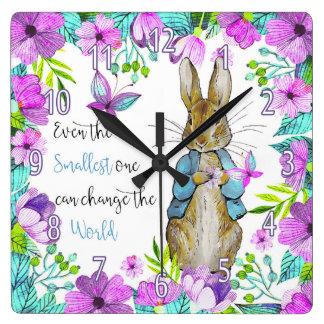 Rabbit Quote Clock, Children's Bedroom Square Wall Clock