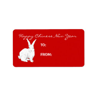 Rabbit red Chinese New Year Gift Tag Label Address Label