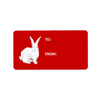 Rabbit red Gift Tag Label Address Label