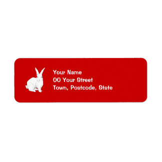 Rabbit red Return Address Label