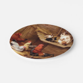 Rabbit Rooster Bunnies Pet Farm Painting 7 Inch Paper Plate