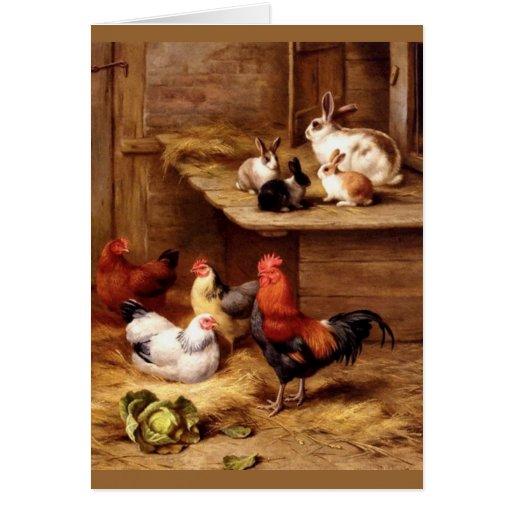 Rabbit rooster hens farm animals bunnies card