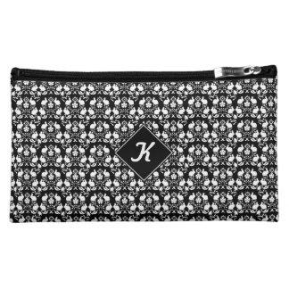 Rabbit & Rose Damask Pattern Cosmetic Bag