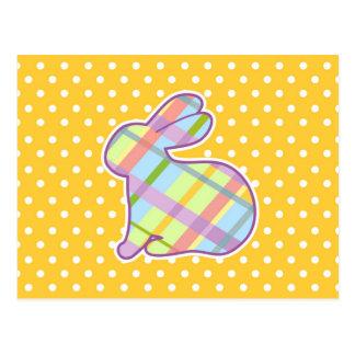 Rabbit Shape on Yellow Polka Dots Background Postcard