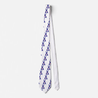 Rabbit Silhouette, Blue Background White Stars. Tie