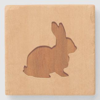 Rabbit silhouette engraved on wood design stone beverage coaster