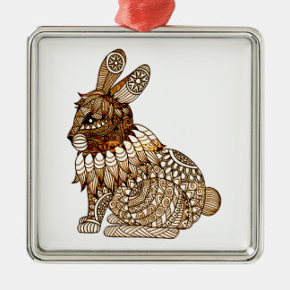 Rabbit Silver-Colored Square Decoration