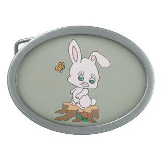 Rabbit Sitting on Stump Oval Belt Buckles