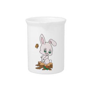 Rabbit Sitting on Stump Pitcher