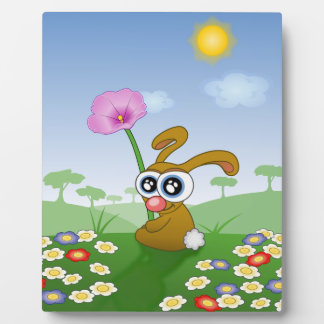 Rabbit with Big Eyes sitting on Field Plaque