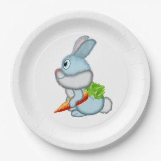 Rabbit with carrot paper plate