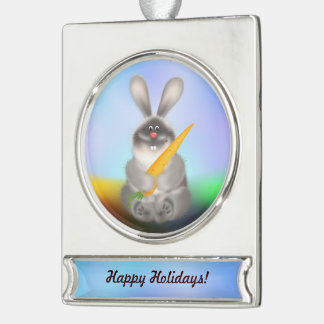 Rabbit with Carrot Silver Plated Banner Ornament