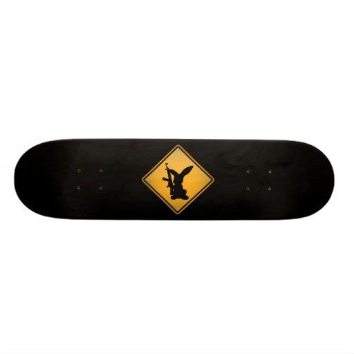 Rabbit with Gun Warning Sign Skate Board Deck