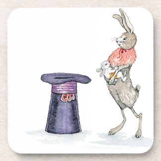 rabbit with hat beverage coasters