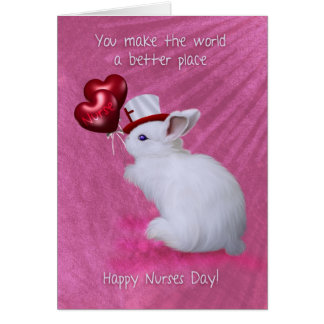 Rabbit With Heart Balloons And Cute Hat Nurses Day Card
