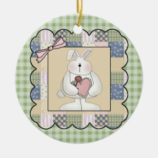 Rabbit With Heart Double-Sided Ceramic Round Christmas Ornament