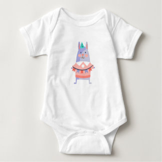 Rabbit With Party Attributes Girly Stylized Funky Baby Bodysuit