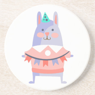 Rabbit With Party Attributes Girly Stylized Funky Coaster