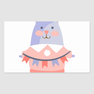 Rabbit With Party Attributes Girly Stylized Funky Rectangular Sticker